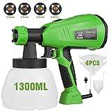 Farbsprühsystem 800ml/min, Elektro Farbspritzpistole 1300ml-Behälter Ginour HVLP Sprühpistole mit abnehmbarem, 3 Spritzmuster und 4 Düsengrößen und 4 Filterpapiers (grün)